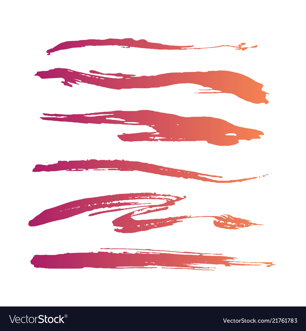 Abstract grunge curly handmade pink brushes