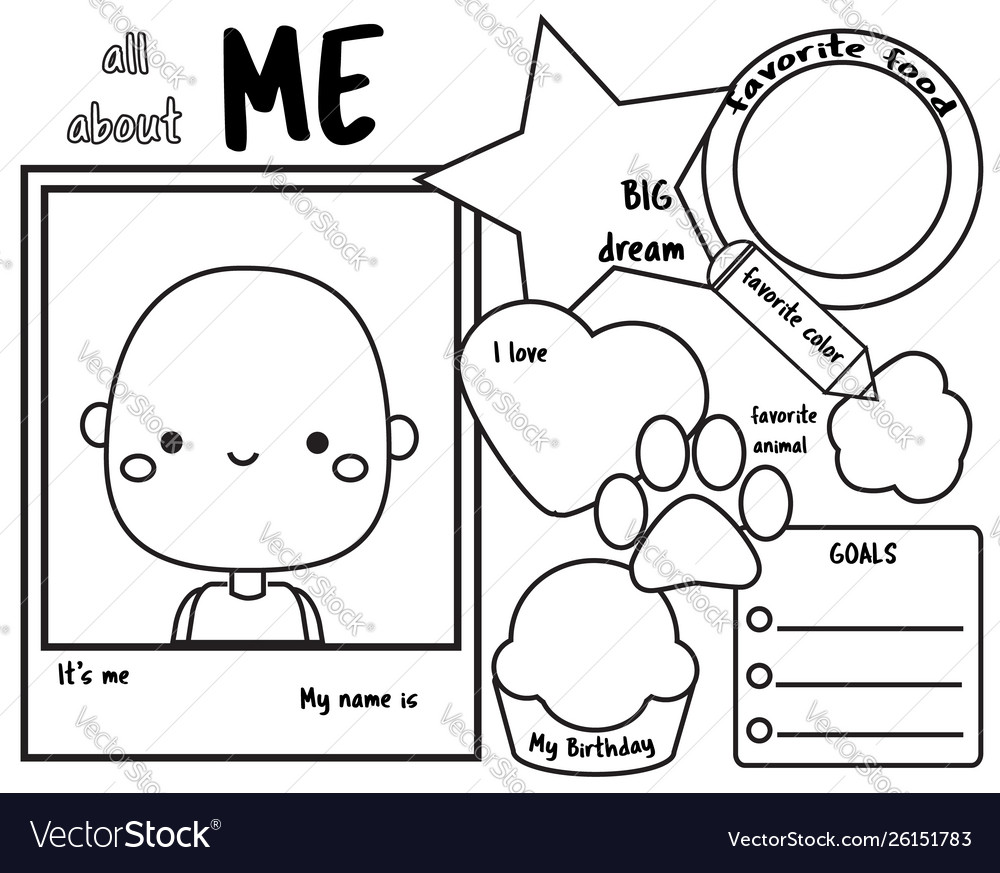 photograph relating to All About Me Page Printable titled All above me composing instructed for small children blank