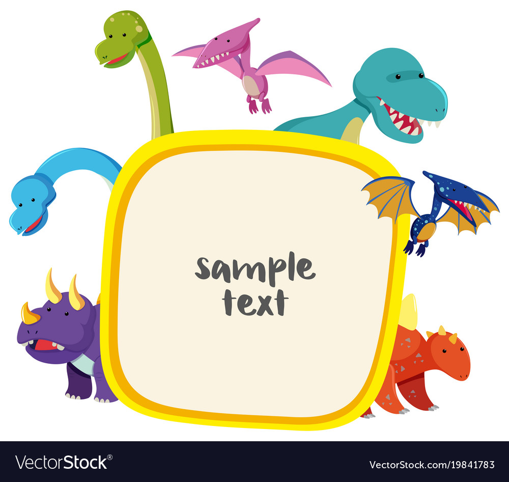 border template with cute dinosaurs royalty free vector
