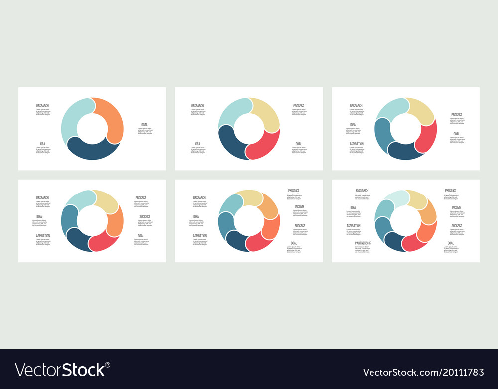 Business infographics pie charts with 3 4 5 6