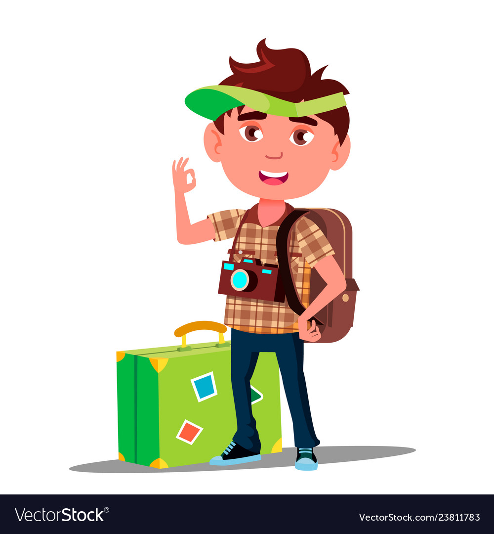 Little traveler boy with suitcase cap on his head