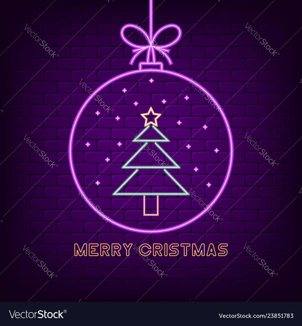 Merry christmas neon sign new year holyday bright