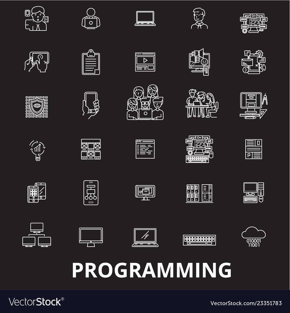 Programming editable line icons set on