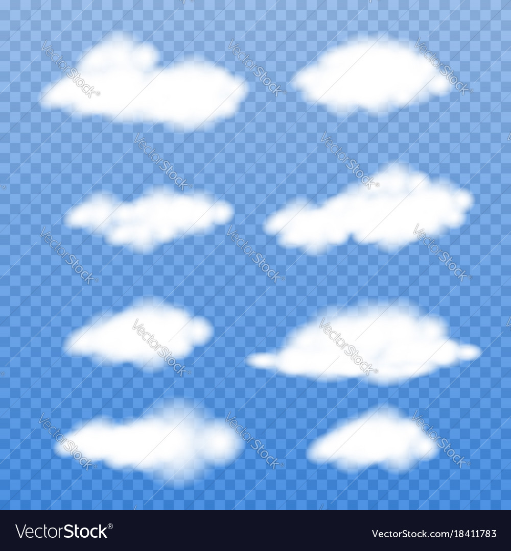 Realistic clouds on transparent background