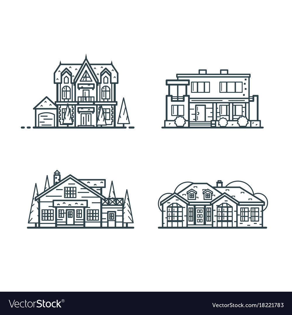 Residential houses thin line icons