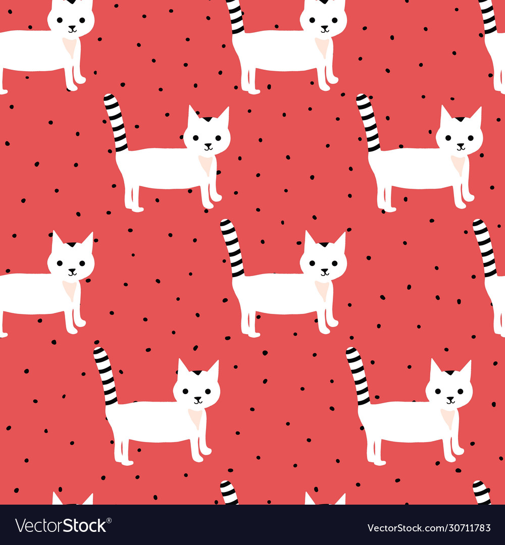 Seamless pattern with cute white kittens on