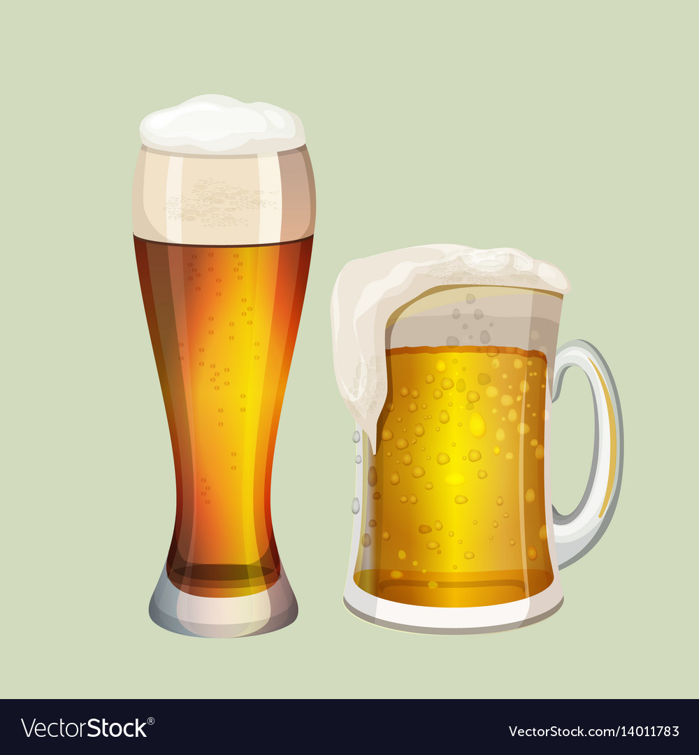 Two big glasses with frothy beer graphic icon on