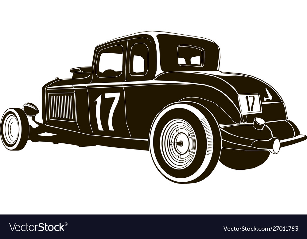 Vintage hot rod drawing graphic isolated