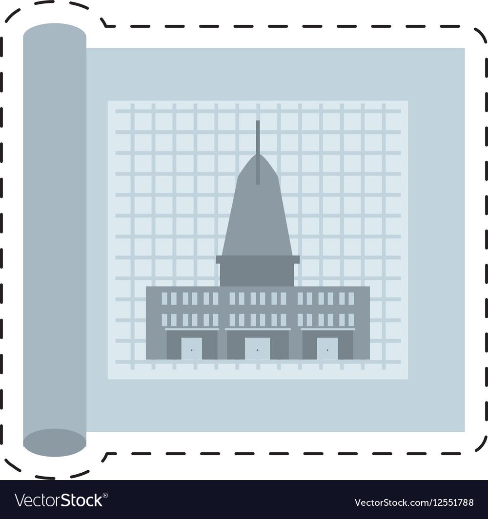 Architecture plans building structure cut line vector image