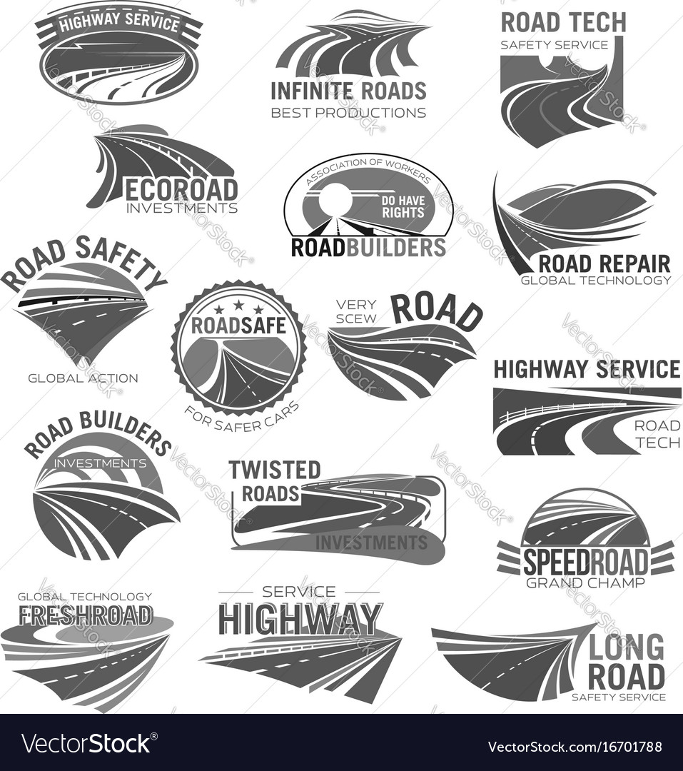 Asphalt road highway and speed freeway symbol set