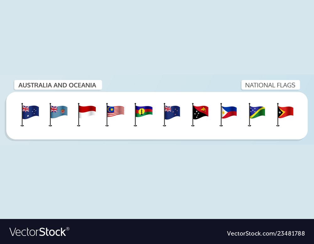 Australia and oceania national flags
