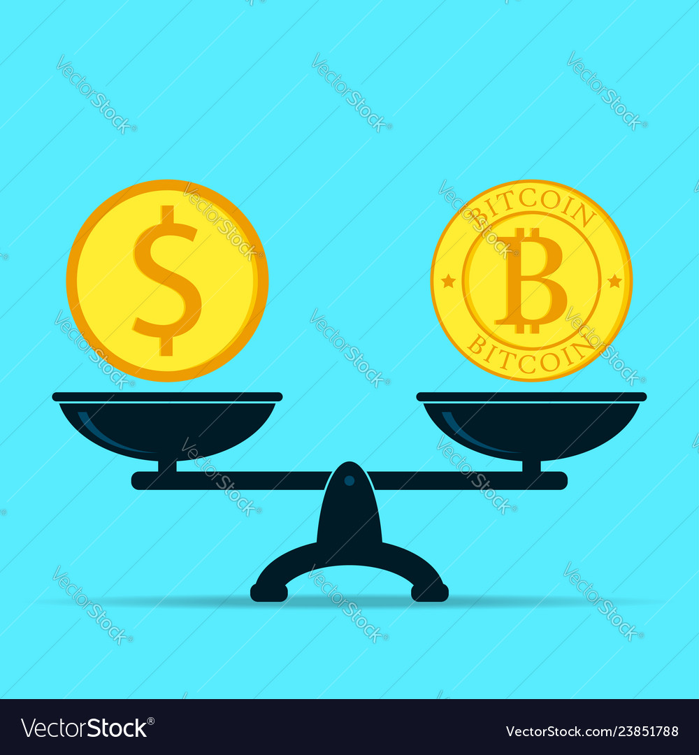 Bitcoin and dollar on scales
