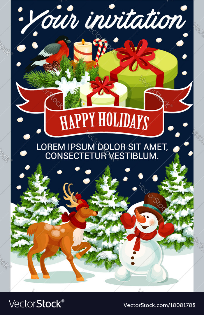 Christmas greeting new year poster vector image