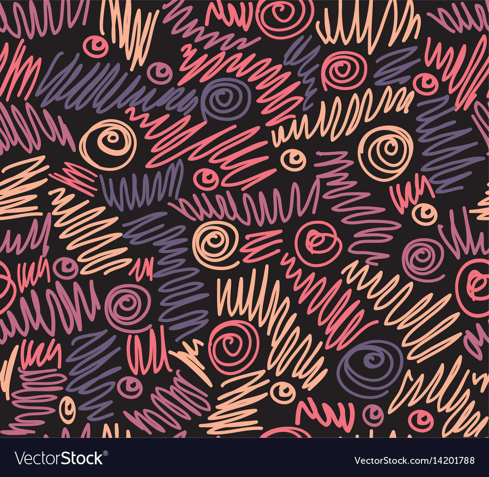 Doodle scribble seamless pattern vector image