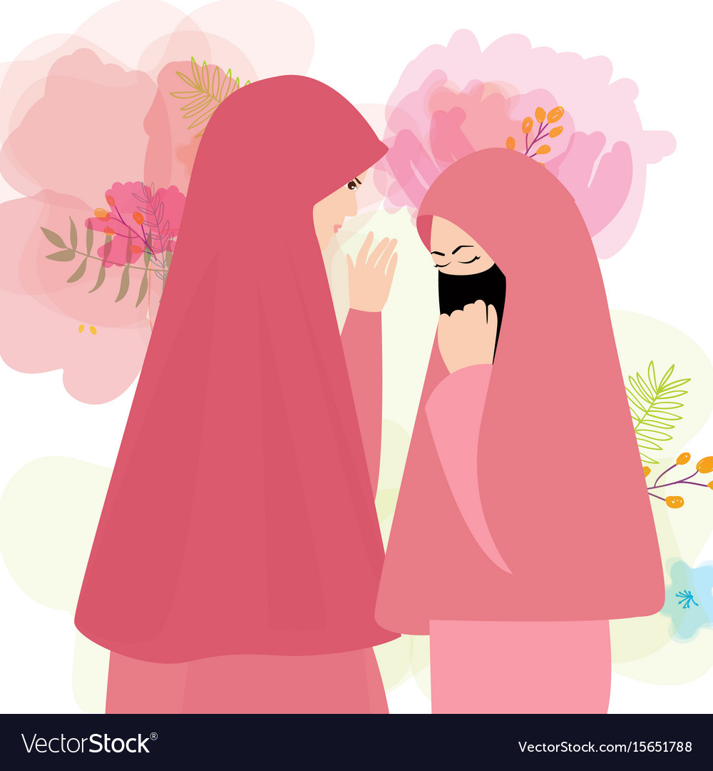 Friends wear veil scarf islam cover face two woman