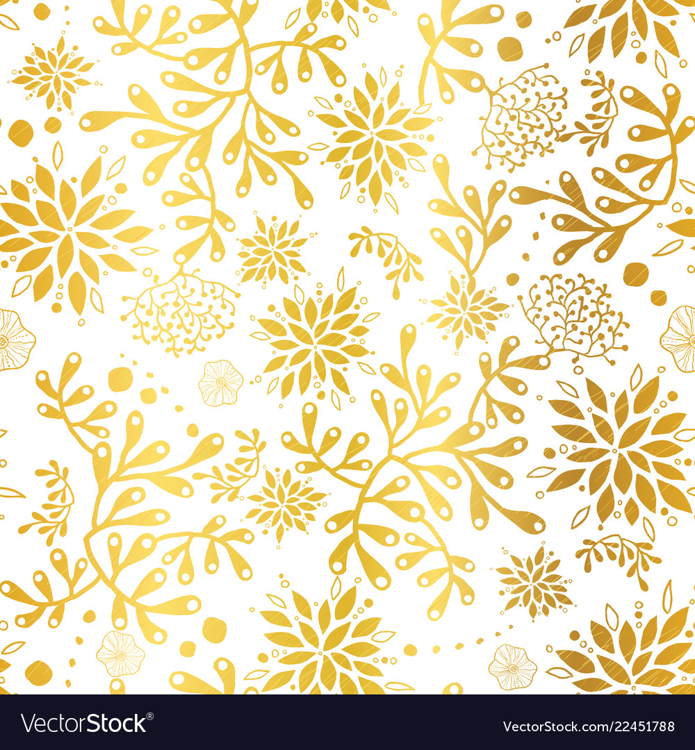 Golden nautical seaweed pattern vector