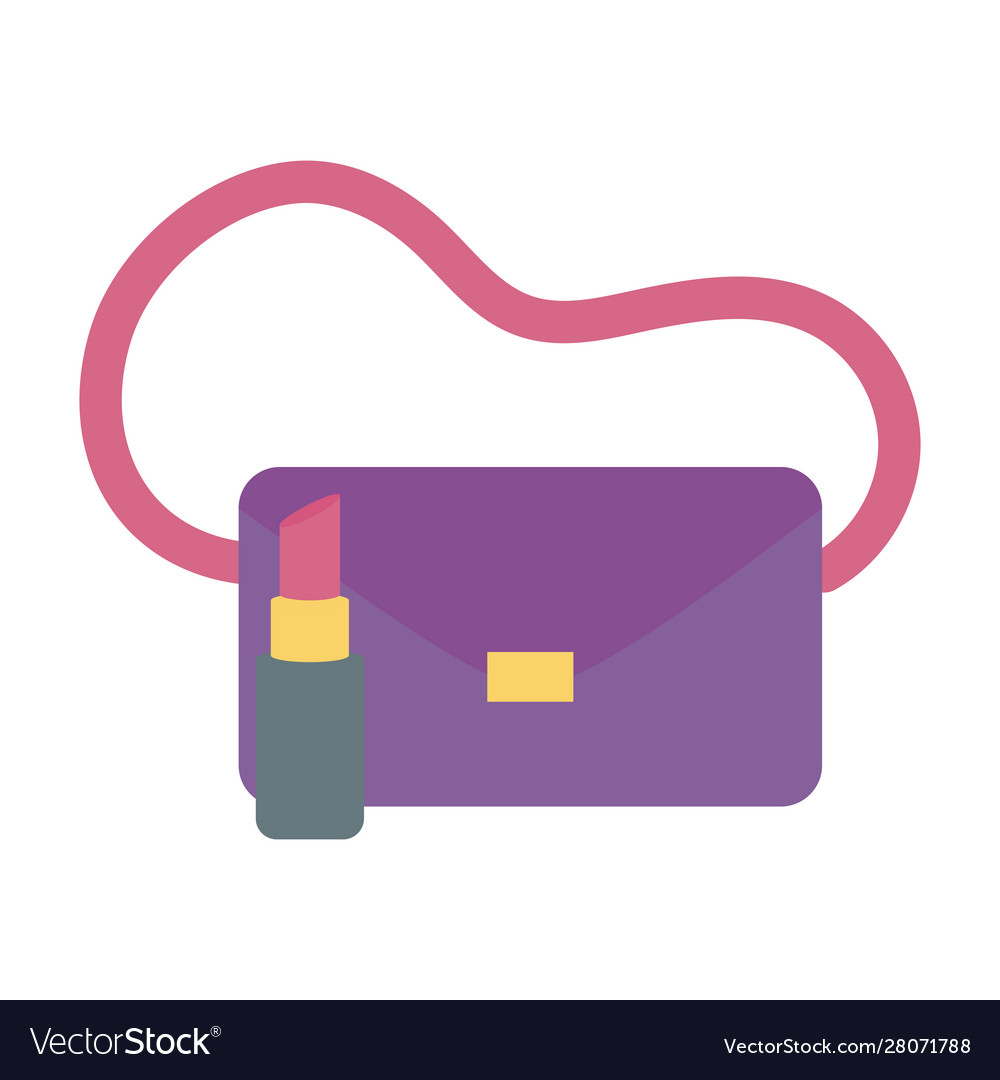 Handbag and lipstick icon on white background