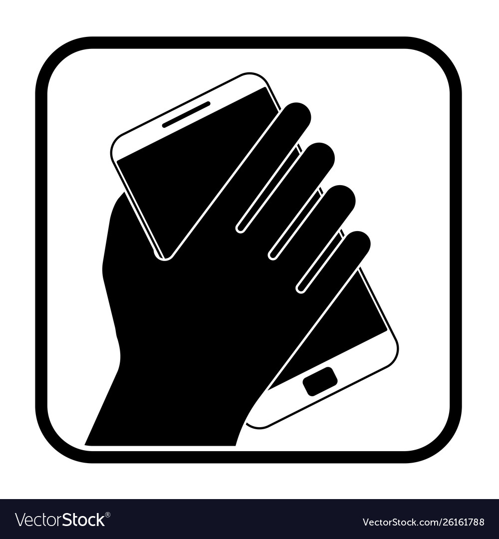 Monochrome icon with hand holding a phone