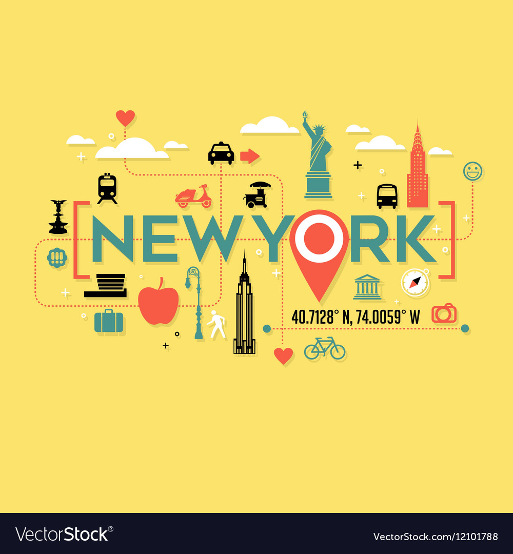 New York City icons and typography design
