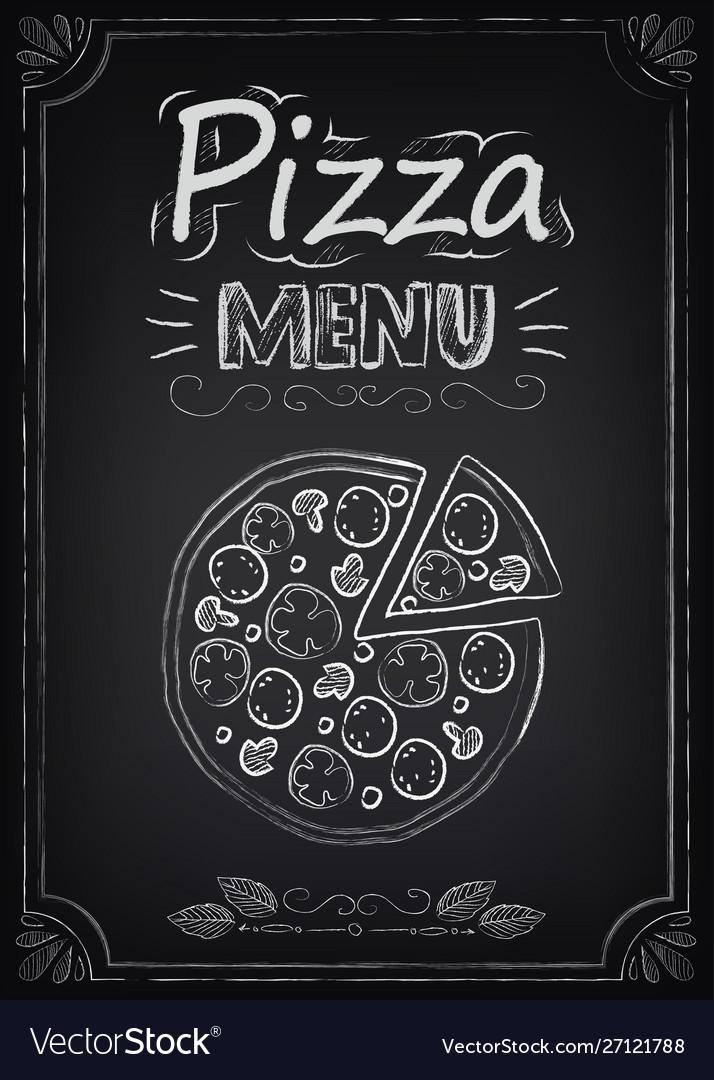 Pizza menu on chalkboard