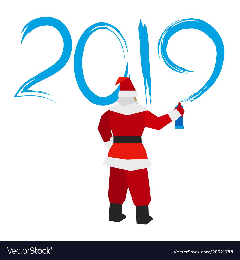 Santa claus with sprayer writes 2019