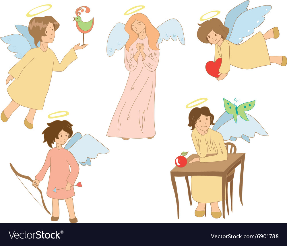 Set of five cute colored angels