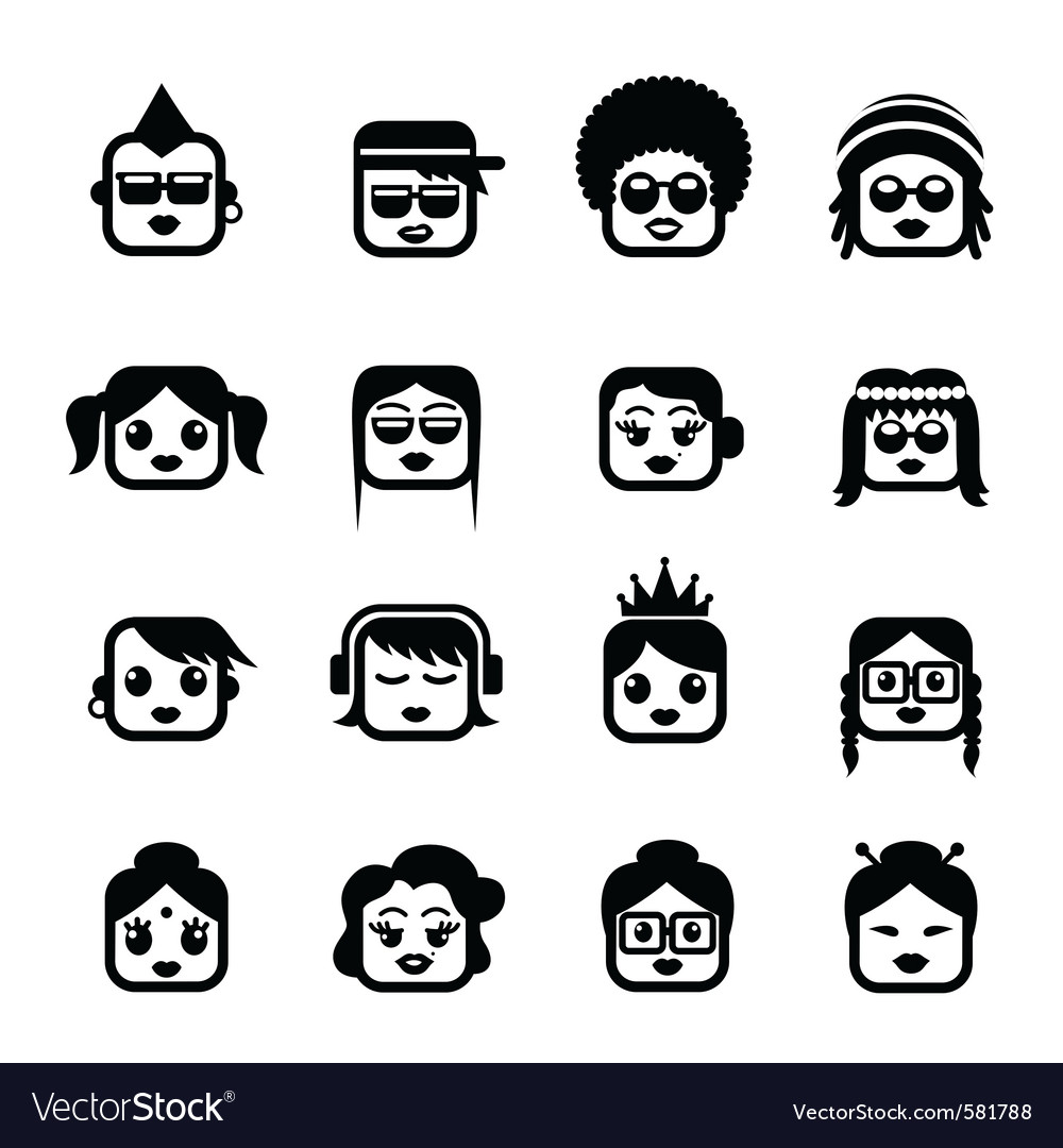 Smiley faces woman characters