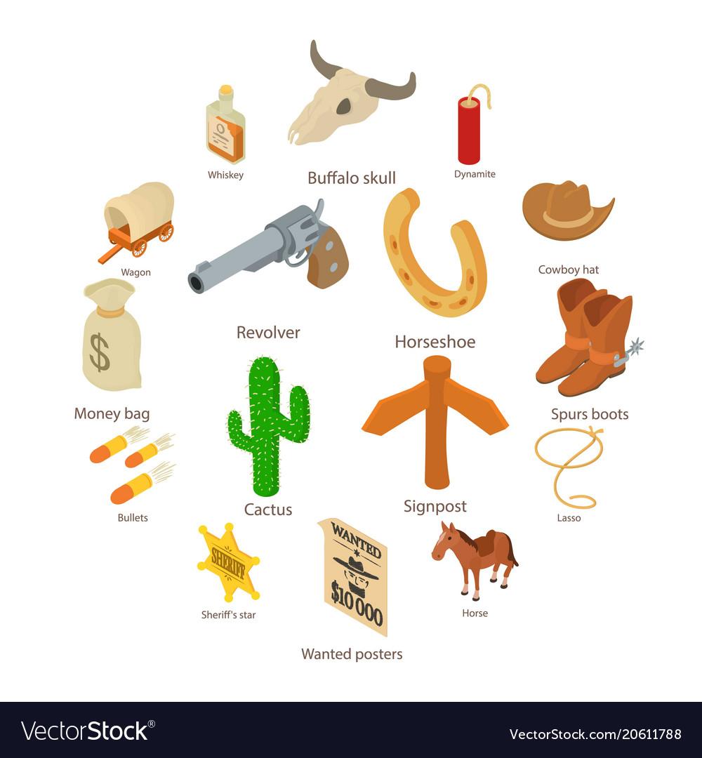 Wild west icons set isometric style