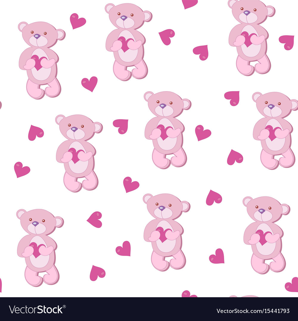 A seamless pattern with pink bear
