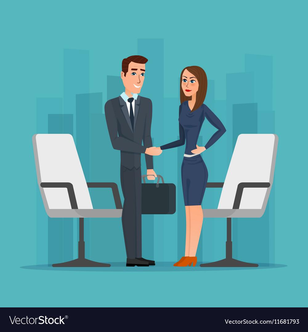 Businesswoman and businessman shaking hands man