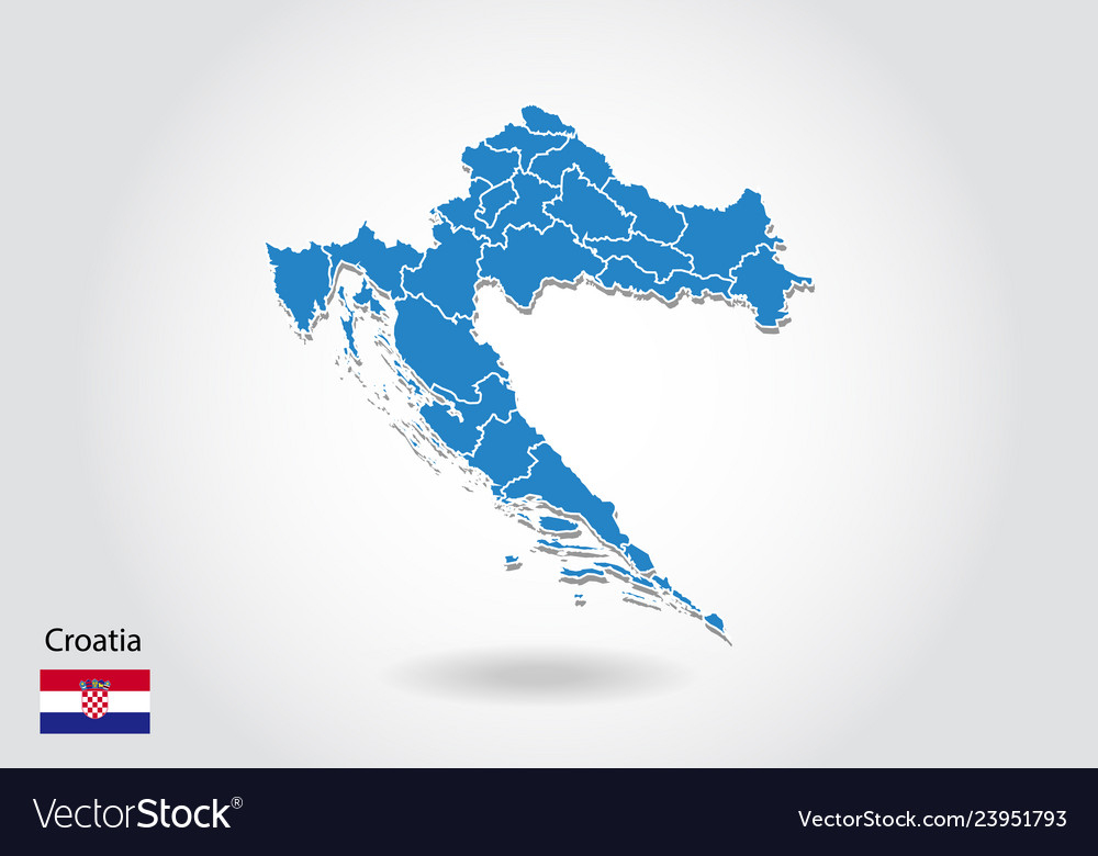 Croatia map design with 3d style blue croatia map Vector Image