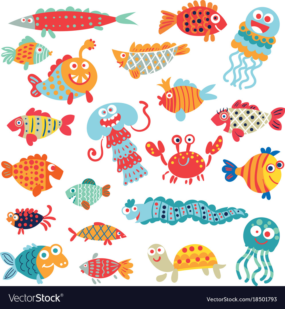 Cute Flat Fish Funny Cartoon Character Royalty Free Vector