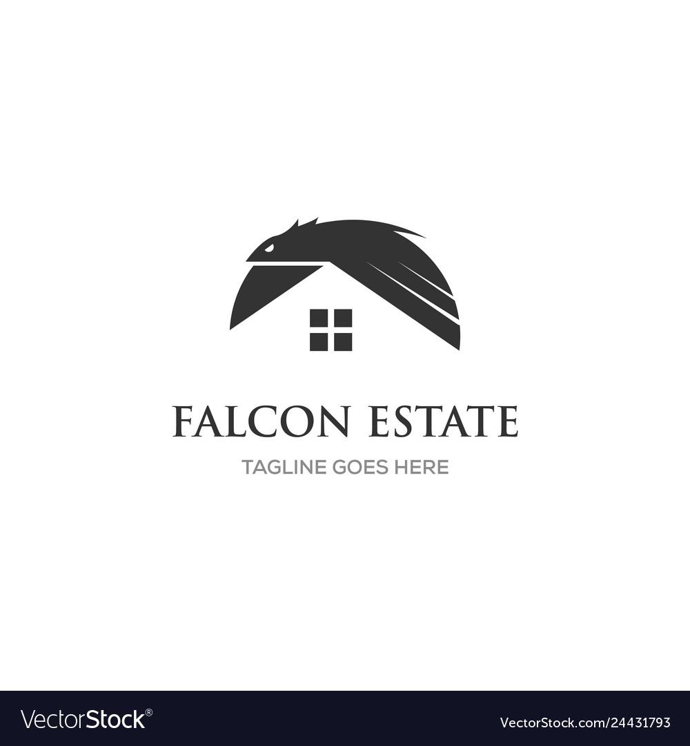 Eagle logo design with real estate home symbol