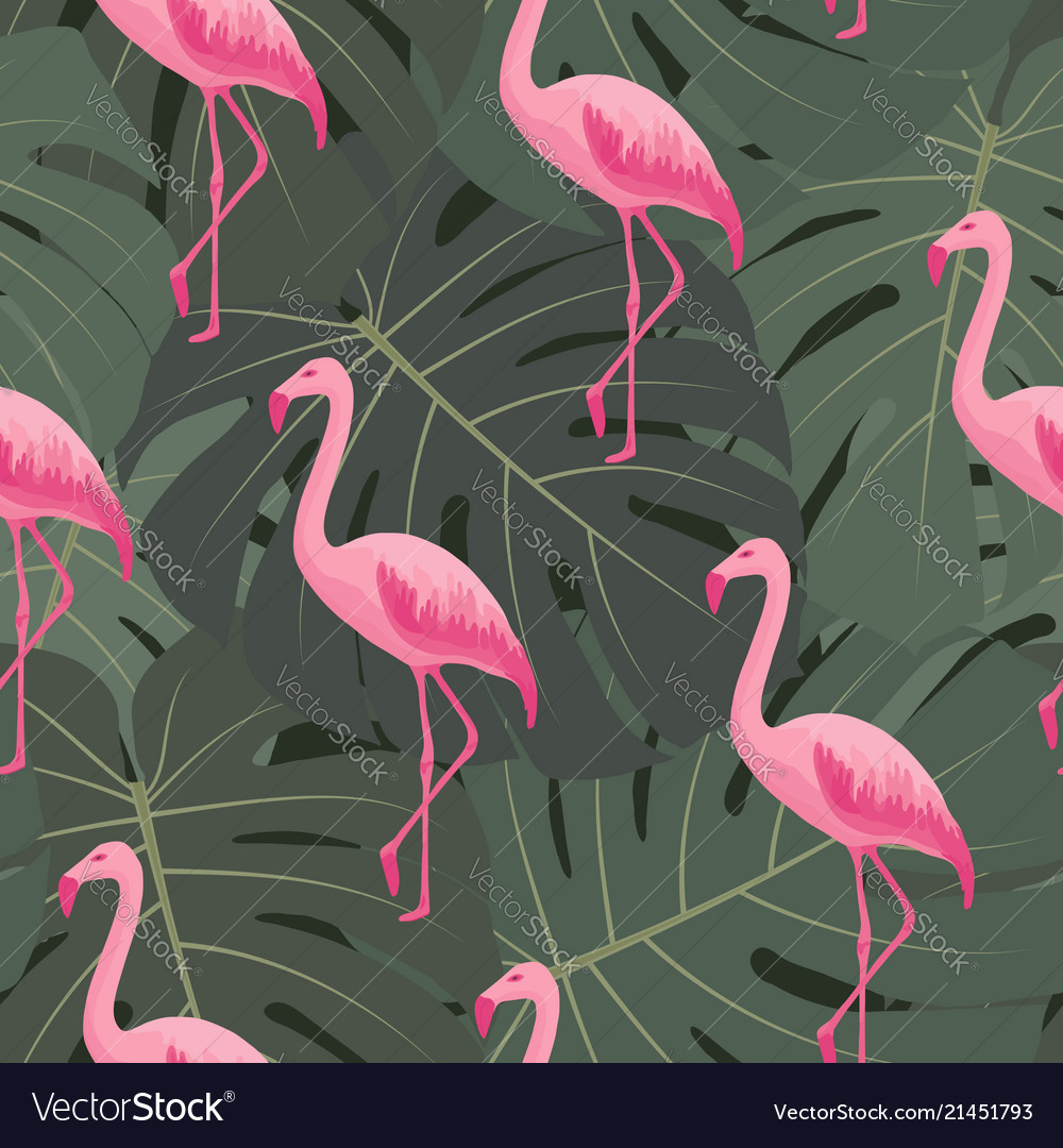 Exotic tropical seamless pattern with flamingos