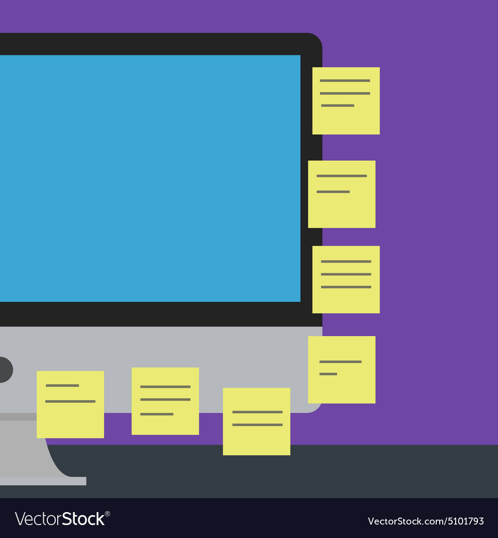 Flat design - computer screen with