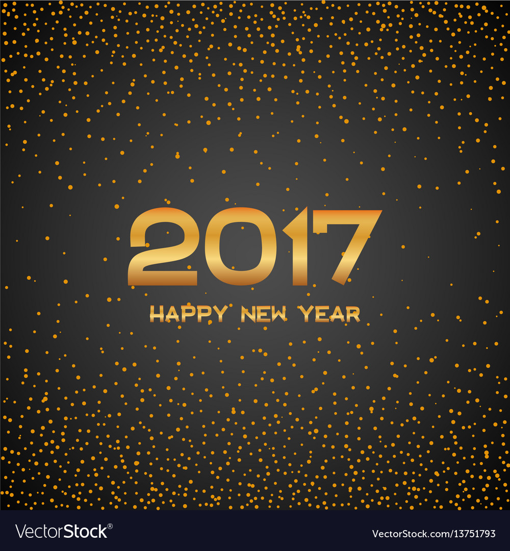 Golden new year 2017 particles background gold