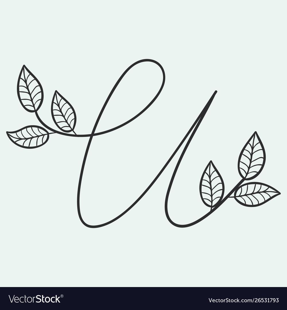 Handwritten letter u monogram or logo brand