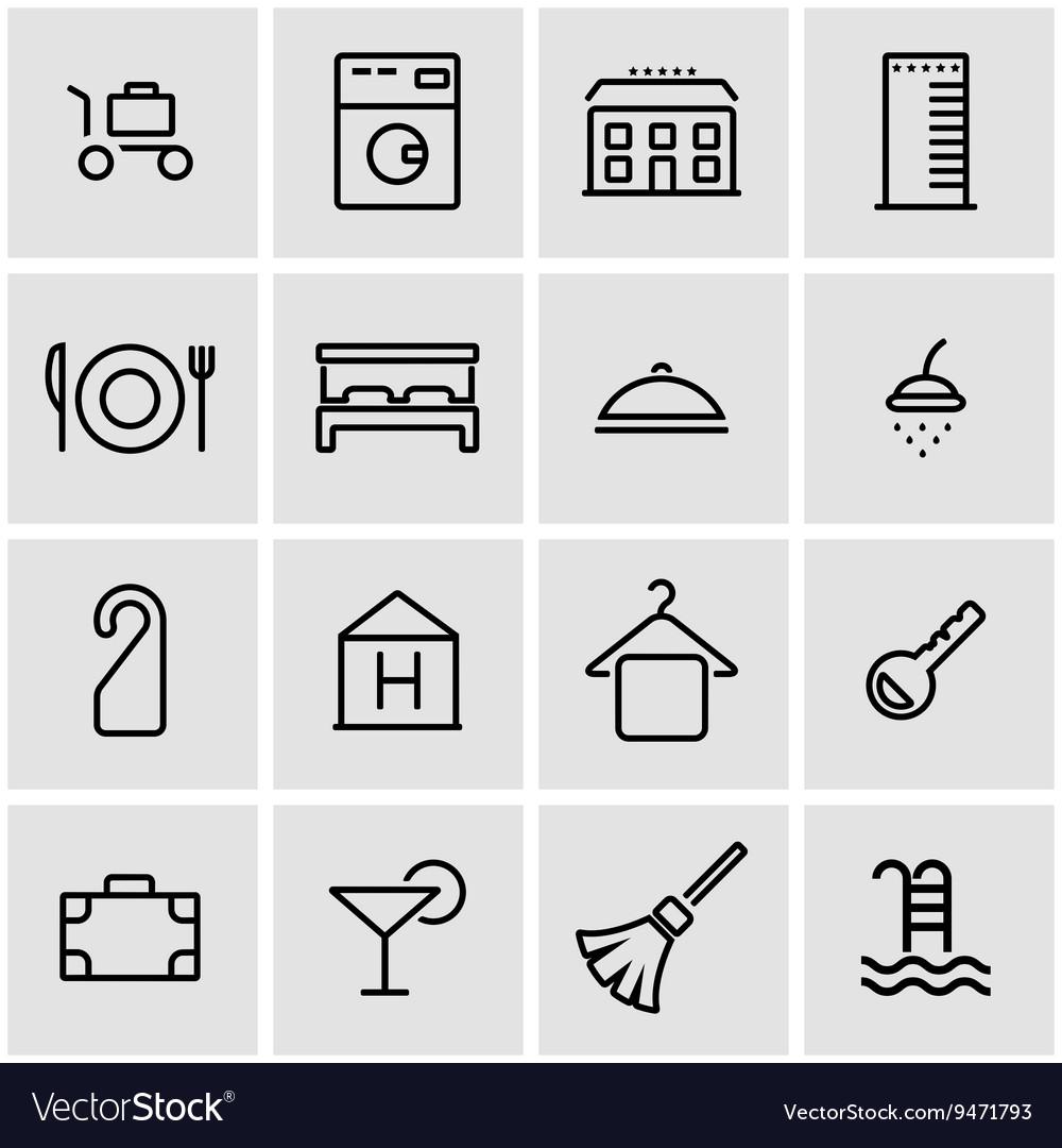 Line hotel icon set