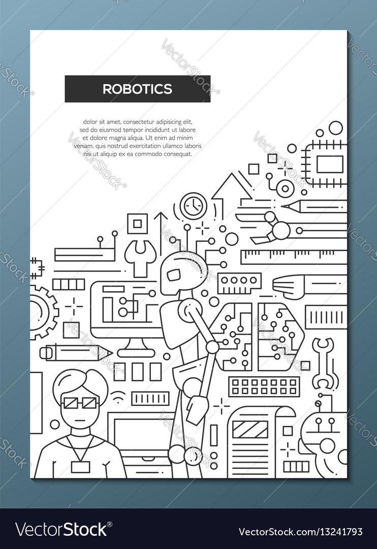Robotics Line Design Brochure Poster Template A4