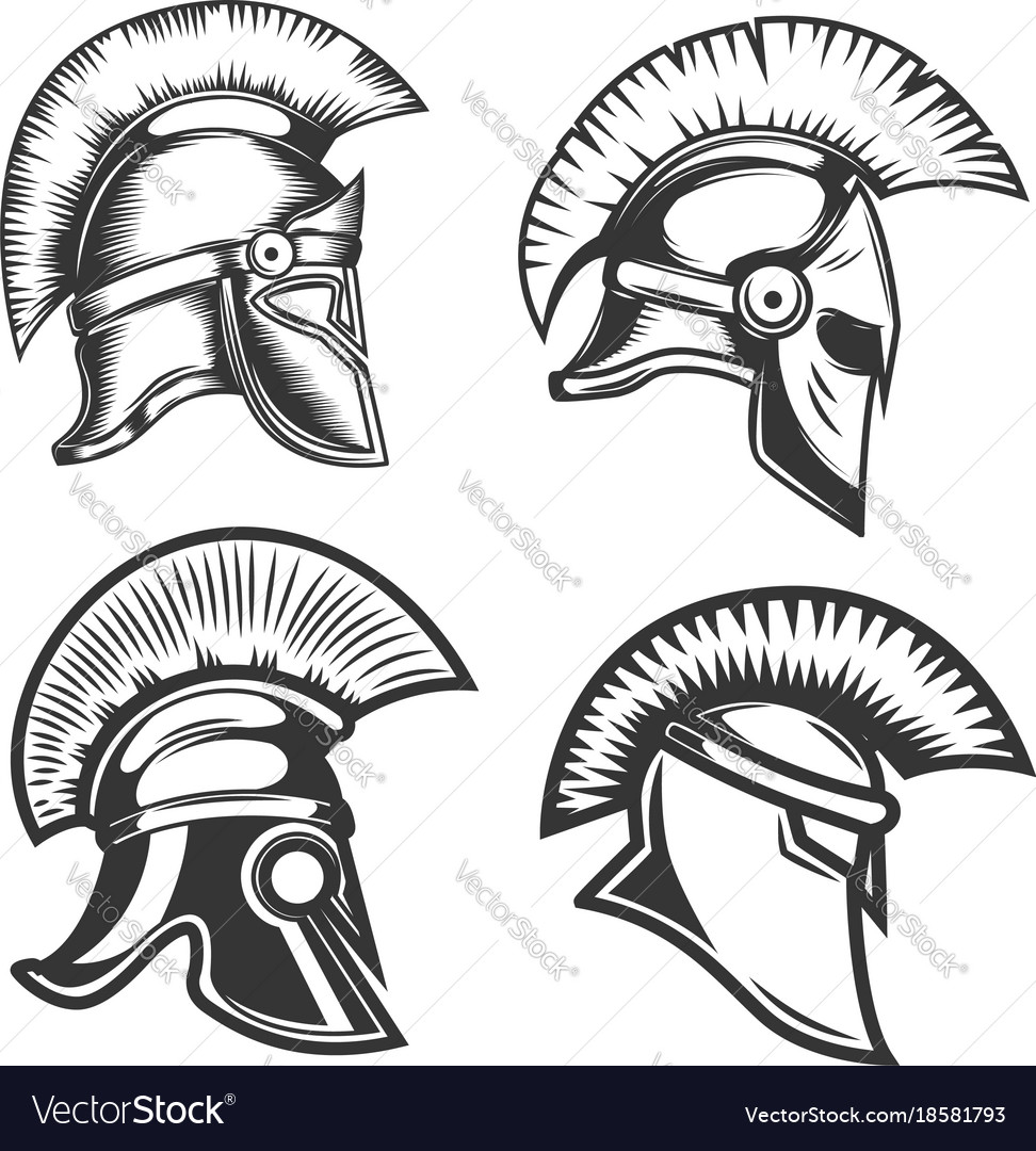 Set of spartan helmets isolated on white