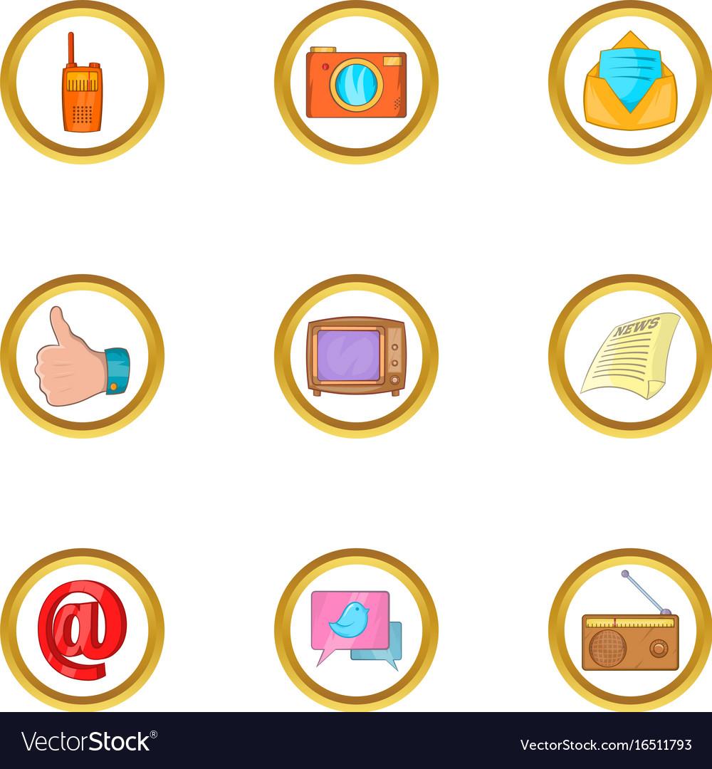 Social icon set cartoon style vector image
