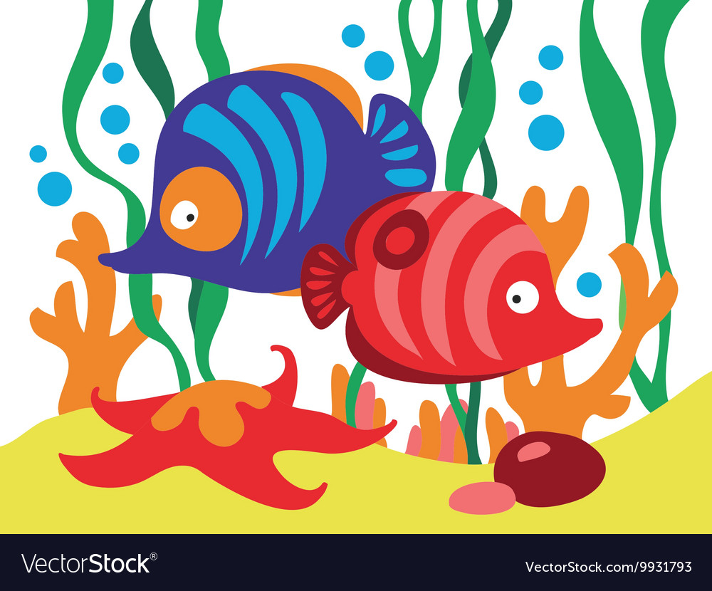 Two cute cartoon fishes under the sea Royalty Free Vector