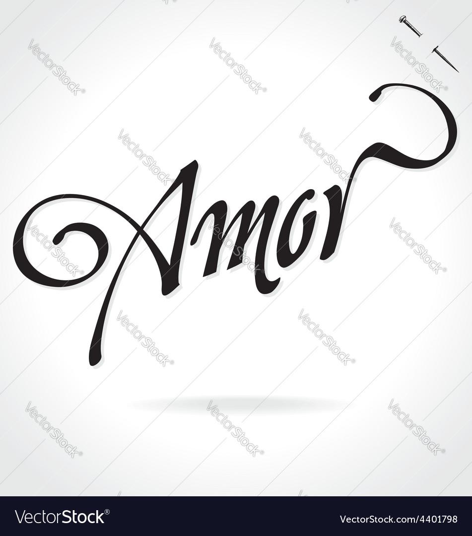 AMOR original custom hand lettering vector image