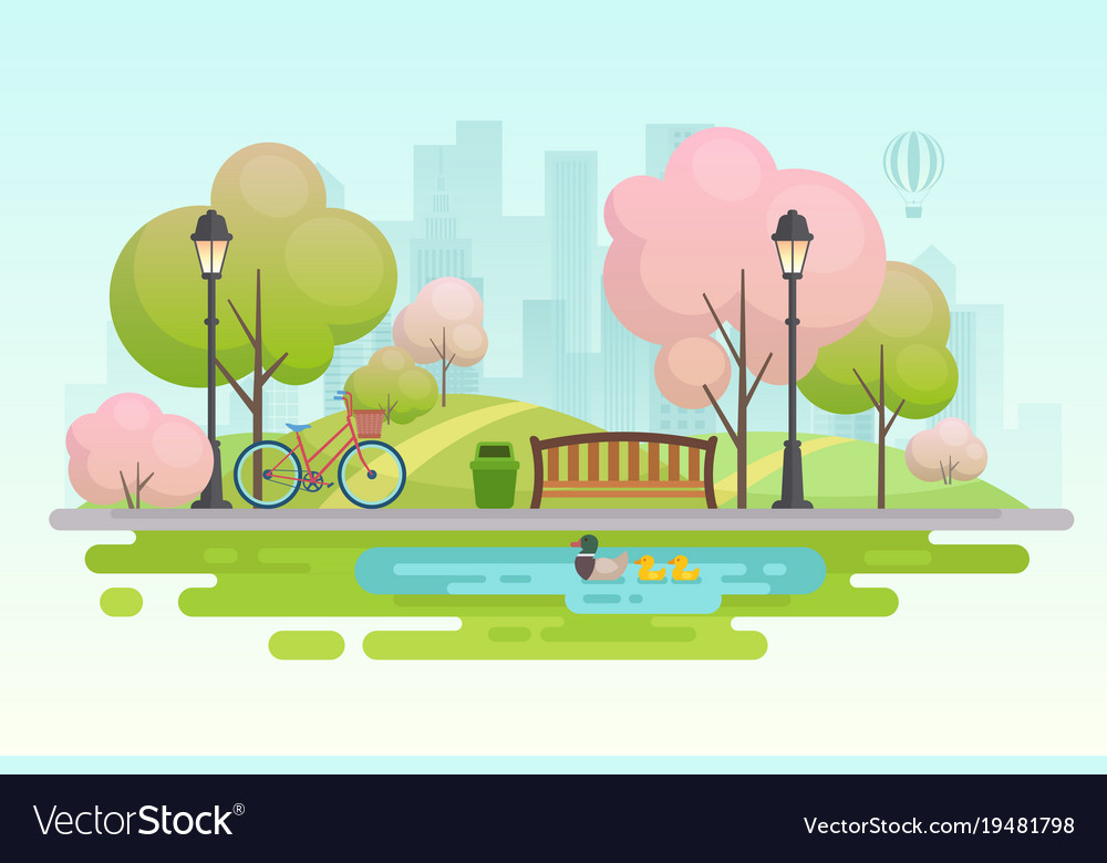 City spring park vector image