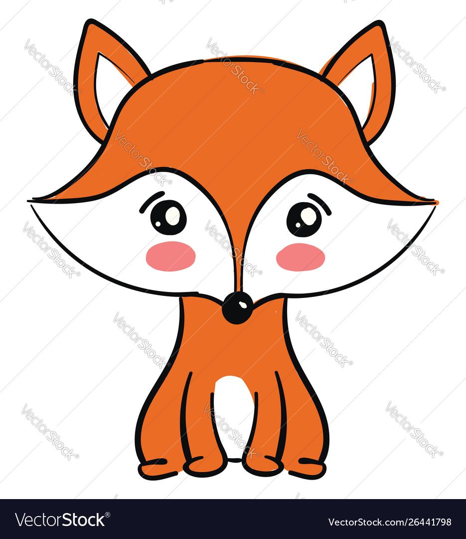 Cute fox on white background