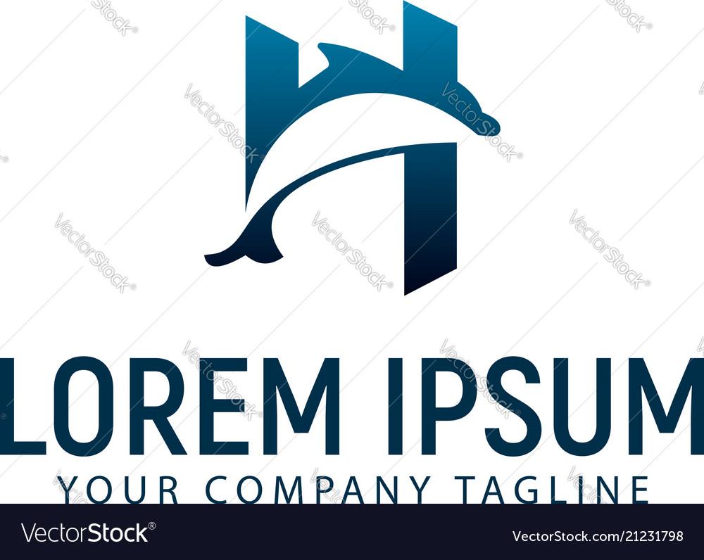 Dolphin logo design concept template Royalty Free Vector