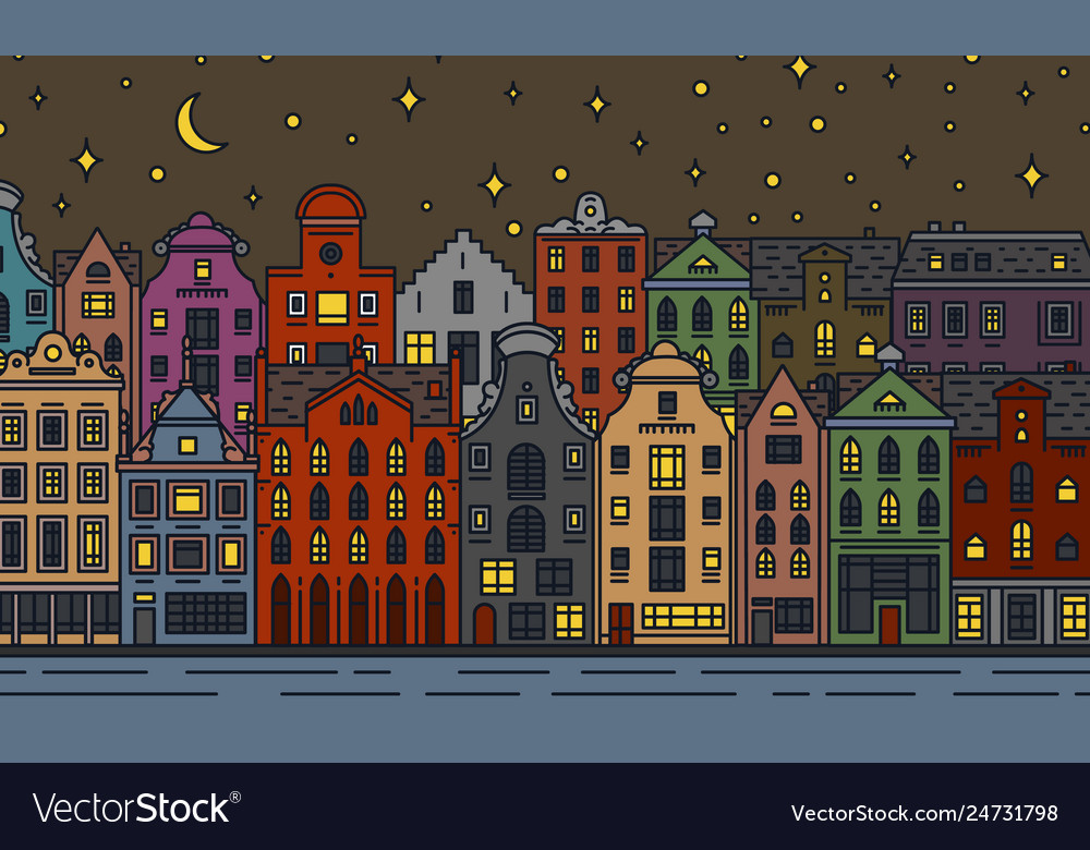 Europe house and apartments moon night in