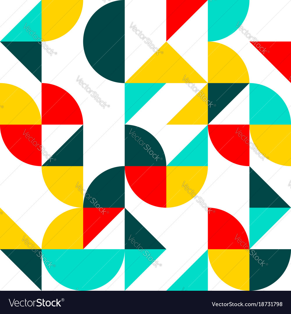 Flat shapes pattern vector image