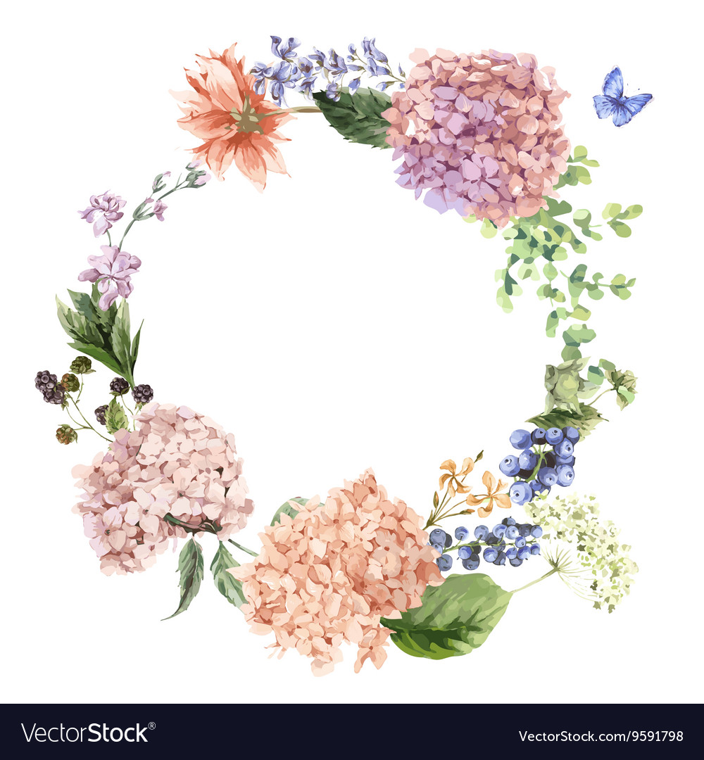 Floral Greeting Card with Blooming Hydrangea and
