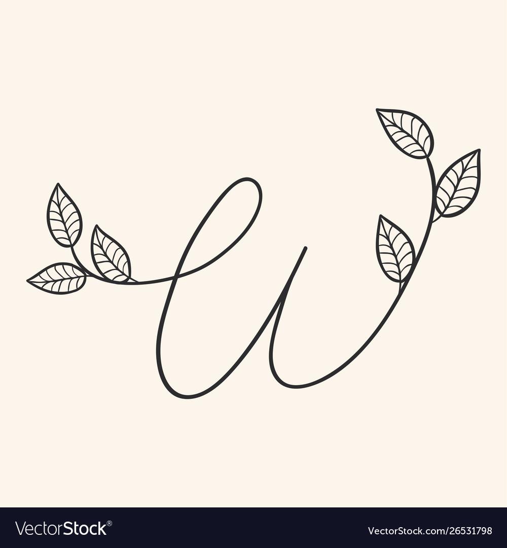 Handwritten letter w monogram or logo brand